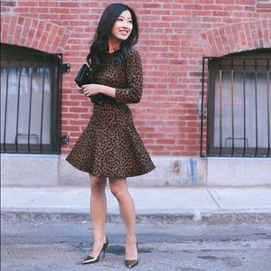 Loft Leopard Stretch Dress 3/4 Sleeve Flare Mini M